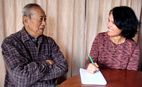 Maria de Jong interviewing Gordon Kon Huang about his escape from southern China during the Japanese occupation in WW II.